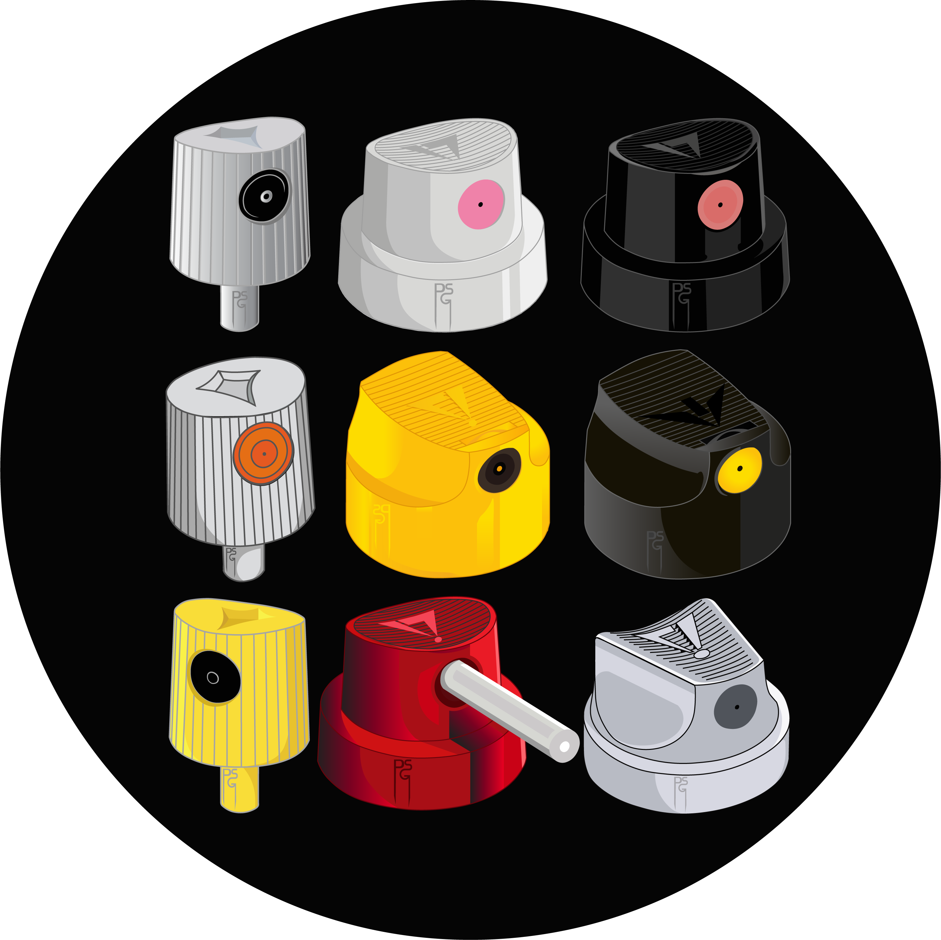 PSG Caps Enamel Pin Set